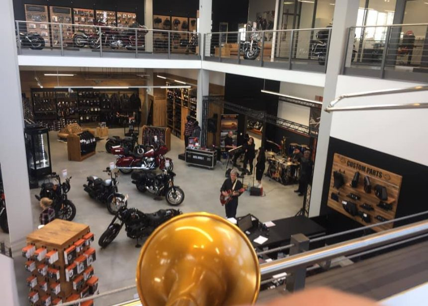 Mr. Hill playing @ the Harley shop ING. …had standing ovations from the bikes …